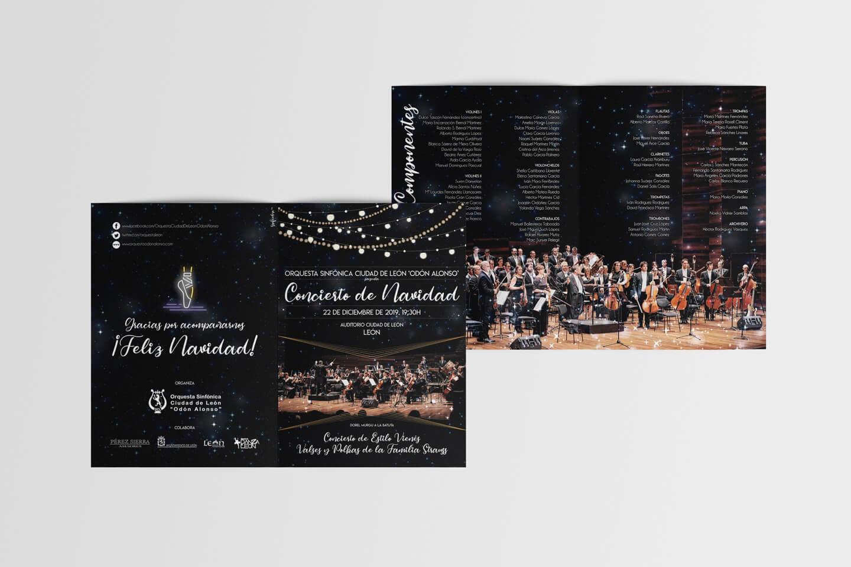 Diseño de programa de mano para concierto de navidad